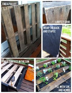 Pallet garden in 3 simple steps. Try painting the pallet for a splash of color for an herb garden. Herb Garden Pallet, Diy Herb Garden, Pallets Garden, Lawn And Garden, Home And Garden, Pallet Gardening, Garden Steps, Wood Pallets, Patio Pergola