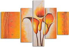 Cobra Lily Dance 5 Piece Original Painting on Wrapped Canvas Set