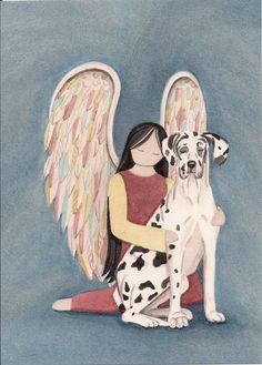 Harlequin great dane (uncropped ears) with angel / Lynch signed folk art print by watercolorqueen on Etsy