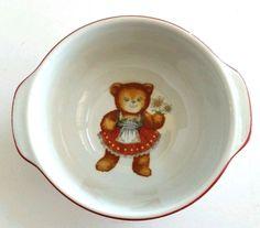 Cereal Porridge Bowl Girl Teddy Bear Dirndl Reutter Porcelain W. Germany  8 oz #ReutterPorzellan
