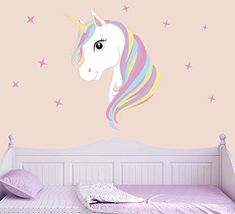 Colourful Unicorn & Stars Wall Art Vinyl Stickers Decal Decor For Girl Bedroom Pink Wall Stickers, Wall Stickers Unicorn, Unicorn Wall Art, Vinyl Wall Art, Vinyl Decals, Wall Decals, Sticker Mural, 3d Pokemon, Unicorn Bedroom