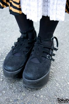 Black Suede Tokyo Bopper shoes on the street in Harajuku.