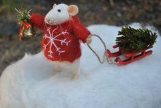 Weihnachten Maus Nadel gefilzte Tier Felted ornament Weihnachtsgeschenk kleine Maus kleine Mäuse Weihnachtsbaum Filz Miniatur Wolle Figur