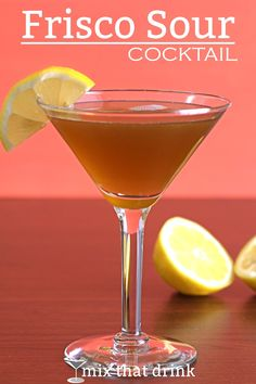 The Frisco Sour is an old classic cocktail featuring rye or bourbon, with Benedictine for sweetness. It's worth using a better bourbon - something like PIkesville or Gentleman Jack, that's very smooth and drinkable. Cocktail Bitters, Sour Cocktail, Cocktail Mix, Whiskey Cocktails, Classic Cocktails, Cocktail Recipes, Bourbon Drinks, Drink Recipes, Whiskey Recipes
