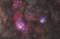 Sagittarius triplet: M8 (Lagoon Nebula), the large nebula left of center, and colorful M20 (Trifid Nebula) on the right. The third, NGC 6559, is above M8, separated from the larger nebula by a dark dust lane.