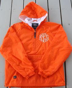 Monogrammed Half Zip Pullover Rain Jacket by GladevilleFarmhouse, $45.00. Yes, please!