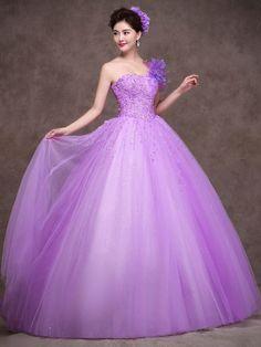 Purple One Shoulder Quinceanera Ball Gown Prom Dress Home Coming Dress Sweet Sixteen Dress X011