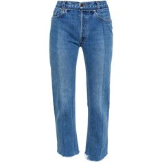 VETEMENTS Slim Jeans with Uneven Hem (€830) ❤ liked on Polyvore featuring jeans, bottoms, pants, denim pants, vetements, blue denim jeans, slim cut jeans, slim jeans, slim fit blue jeans and denim jeans