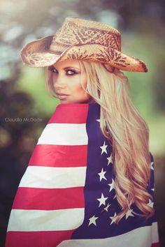 Claudia McDade PHotography  Candice HOlloway mua  Carley fant hair  USA Flag, cowboy hat, American