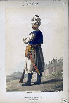 Illustration of a Janizary (Janissary) of the Ottomon Empire from a folio in the Vinkhuizen Collection. #36, dated 1817.
