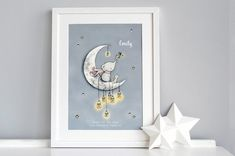 Children's Picture Catching Stars Print Moon by DaisyandBumpArt