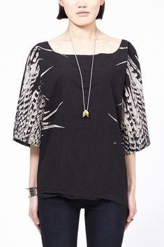 UZI Feathers Kimono Top (Black)