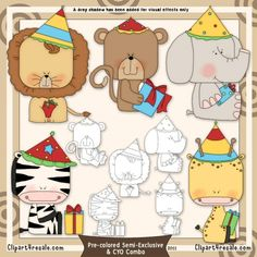Birthday Zoo Animals Clip Art & Digital Stamp Set by Alice Smith