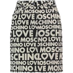 Love Moschino Printed stretch cotton-twill mini skirt (£101) ❤ liked on Polyvore featuring skirts, mini skirts, black, love moschino, love moschino skirt, button skirt, short skirts and mini skirt