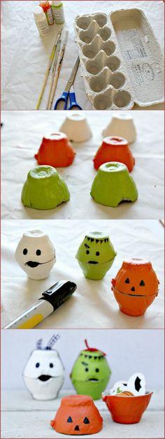coole bastelideen eierschachtel verwenden farbige figuren