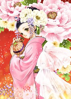 Peony princess with black hair, hazel green eyes, pink kimono, & ivory flowers by manga artist Shiitake.
