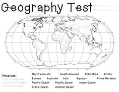 Have students cut and paste labels for 7 continents and 4 oceans world geography assessment gumiabroncs Images
