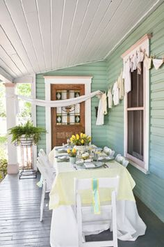 I just like the paint color for the house siding. The pin is for the aqua and yellow baby shower decor (love the clothes line) Baby Shower Yellow, Baby Yellow, Baby Shower Fun, Southern Baby Showers, Showers Of Blessing, House Siding, Baby Shower Decorations, Baby Decor, Baby Sprinkle