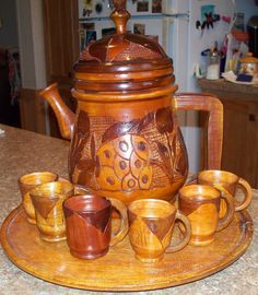 Hand Carved Wood Teapot Set
