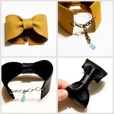 Make a diy leather bow cuff bracelet that is adjustable. EASY project for beginners and perfect for a girlfriend gift.