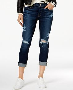 7 For All Mankind Josephina Ripped Santiago Canyon Wash Straight Leg Jeans