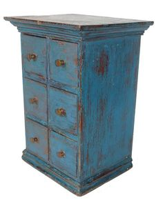 "19th century Pennsylvania, Spice Chest, all original with old blue paint, circa 1850-1870,  9"" wide x 7 1/2"" deep x 12 3/4"" tall"