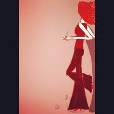 La mujer de rojo que espera ser conquistada.