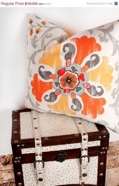 Hey, I found this really awesome Etsy listing at https://www.etsy.com/listing/128762019/sale-orange-floral-print-pillow-cover
