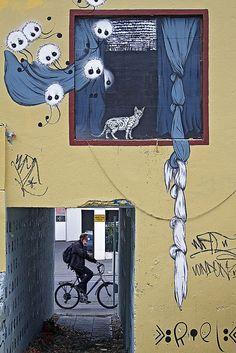 cat in window| street art in Reykjavik, Iceland