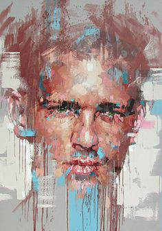 """Behind Castle Walls"" - Jimmy Law (South African, b. 1970), acrylic on canvas, 2015 {figurative #expressionist art male head grunge man face portrait painting drips #loveart #2good2btrue} jimmylaw.co.za"