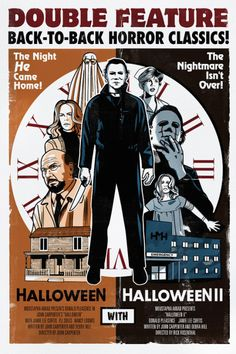 Halloween and Halloween 2 Double Feature. All Horror Movies, Classic Horror Movies, Horror Films, Scary Movies, Horror Icons, 80s Movies, Halloween Film, Halloween Series, John Carpenter Halloween