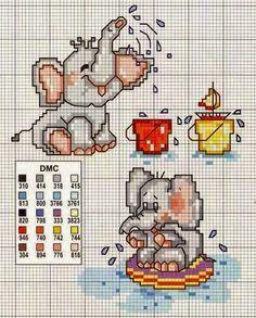 gráfico ponto cruz elefantes animais bichos infantil baby