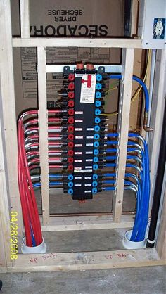 My Pex install Pex Plumbing, Heating And Plumbing, Plumbing Fixtures, Bathroom Fixtures, Mechanical Room, Plumbing Installation, Pole Barn Homes, Space Saving Furniture, Home Repairs