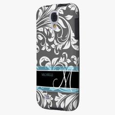 Love it! This Elegant Grey and white floral damask w/ monogram is completely customizable and ready to be personalized or purchased as is. It's a perfect gift for you or your friends.