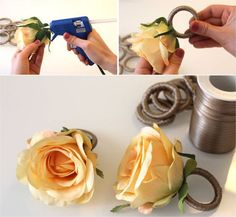 A good day starting with DIY tip! Stick the artificial flower with hot glue on the link … Wooden Napkin Rings, Diy Napkin Rings, Napkin Folding, Wedding Napkins, Decoration Table, Dinner Table, Artificial Flowers, Diy And Crafts, Table Settings