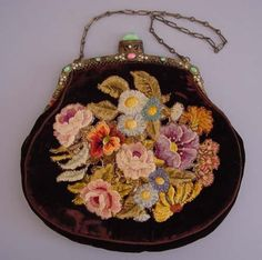 Embroided purse with a frame  Сумочка на фермуаре, вышивка