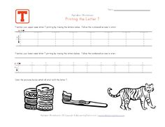 Traceable Alphabet Letter T Worksheet Abc Tracing, Tracing Letters, Alphabet Letters, Letter T Worksheets, Kindergarten Worksheets, Teaching Kids To Write, Preschool Learning, Printing Practice, Learning Stations