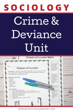 Engage students in your Sociology class with this in-depth crime and deviance unit! Deviance and social control are important concepts for our future citizens to learn, which makes this unit a priority to teach in your classroom! There is a variety of media (videos) included that will lead to critical thinking and discourse from your students.