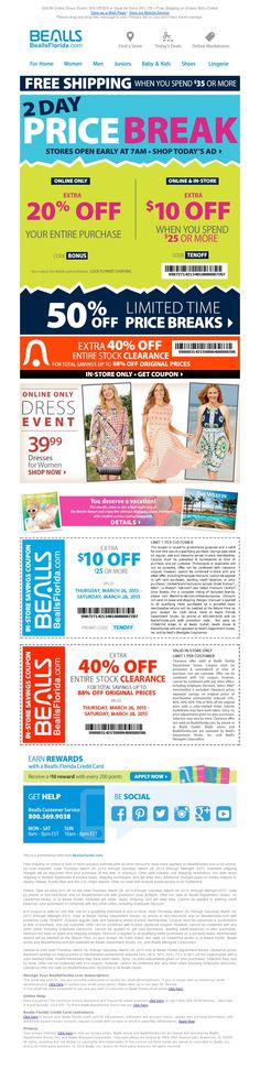 821eac301575 Bealls Florida - 50% Off Price Breaks -  10 Off  25 + Extra 40%