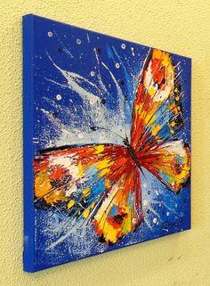 Original Animal Painting by Olha Darchuk Butterfly Artwork, Butterfly Drawing, Butterfly Painting, Diy Canvas Art, Acrylic Painting Canvas, Abstract Canvas, Abstract Animal Art, Painting Abstract, Bright Paintings
