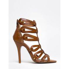 JANES WAY SANDAL ($110) ❤ liked on Polyvore featuring shoes, sandals, brown, high heel sandals, brown leather sandals, studded gladiator sandals, brown high heel sandals and leather strap sandals