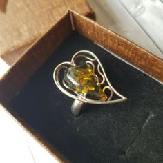 Presents For Him, Gifts For Him, Handmade Jewellery, Earrings Handmade, Baltic Amber Jewelry, Heart Shaped Rings, Amber Earrings, Handmade Ideas, Handmade Silver