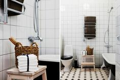 "Victorian floor tiles ""York"": http://www.byggfabriken.com/sortiment/kakel-och-klinker/golvplattor-och-moenster/info/produkter/321-110-victorian-tiles-york/ Victorian Tiles, Victorian Farmhouse, Folk Victorian, Small Space Bathroom, Small Spaces, Bath Caddy, Bathroom Inspiration, Bathroom Ideas, Laundry Room"
