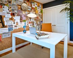 Interesting Fabric Cork Board Ideas for Interior Decoration Home Office Design: Wall Bulletin Board In Wonderful Contemporary Home Office Design With Big Desk In Center Of Room And Wall Covered With Fabric Cork Board Ideas Also Wooden Door Is Painted In White Color ~ vaiglobal.com Home Office Inspiration