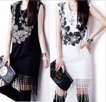 2014 primavera verão New chegada das mulheres do Vintage Beading sem mangas fino elegante impressão vestidos Cute Girl Tassel curto vestido de festa(China (Mainland))