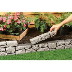 Backyard Landscaping Discover Dalen Products 6 in. x 10 ft. StoneWall - The Home Depot Small Front Yard Landscaping, Landscaping Retaining Walls, Home Landscaping, Landscaping Design, Dry Riverbed Landscaping, Cheap Landscaping Ideas For Front Yard, Small Front Yards, Front Yard Decor, Modern Front Yard