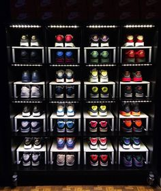 A sneakerhead uses an IKEA bookcase to store his sneakers.