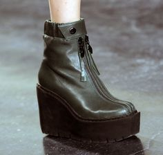 Sporty wedge platform boots at #nyfw @Opening Ceremony feature an elasticated ankle and a double zipper down to the toe #aw14