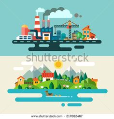Urban and village landscape. Ecology, environmental protection: production, factory, plant, pollution, smoke, building. Vector flat illustrations - stock vector