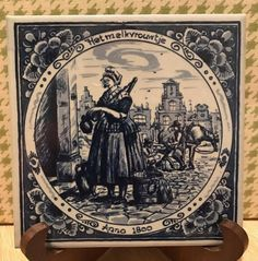 Delft Blauw Blue 6 Tile  Anno 1800 Het Melkvrouwtje  by cul8rg8r